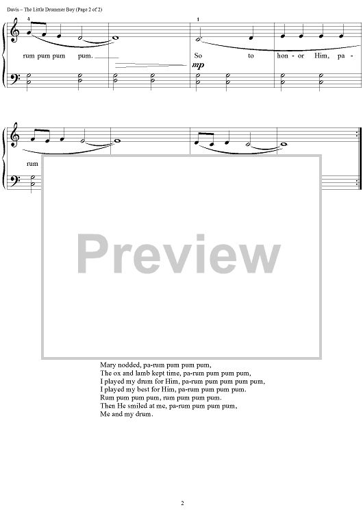 The Little Drummer Boy Sheet Music Preview Page 2