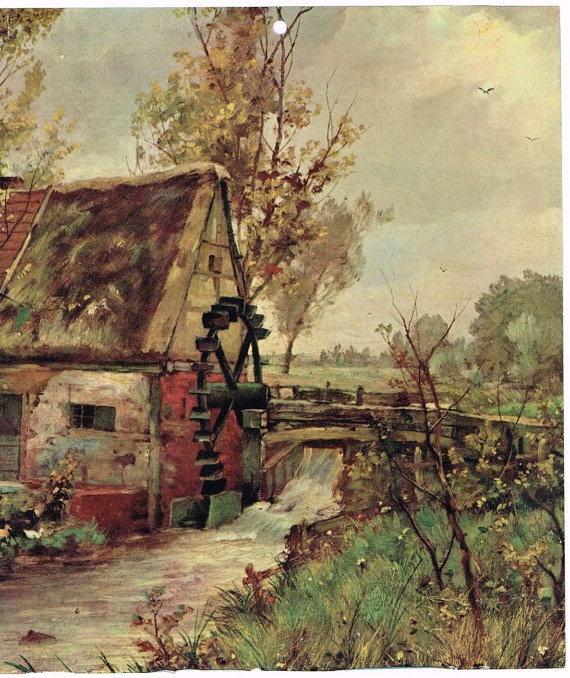 Vintage Calendar Art Old Mill Water Wheel by AtticBasement on Etsy, $9.00