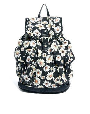 Image 1 ofNew Look Daisy Print Backpack