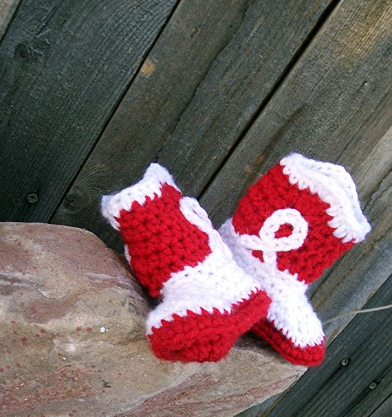 Red Cowboy Boots Crochet Baby Booties Red Cowgirl by puddintoes