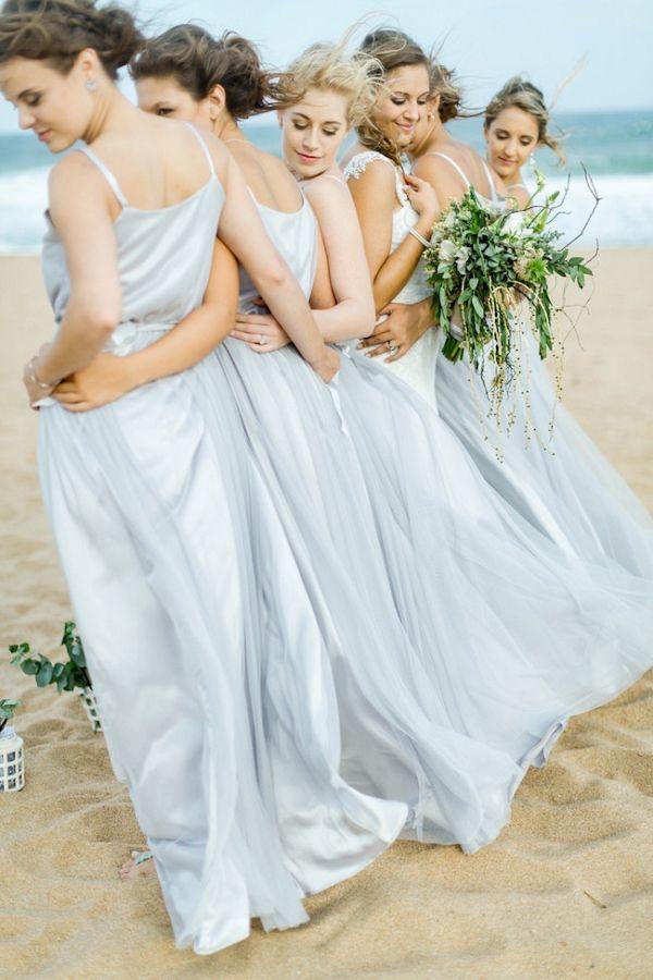 Beach Bridesmaids in Pale Blue Gowns    #wedding #weddings #weddingideas #aislesociety #beachweddings