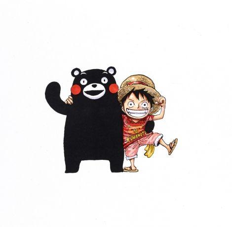 『ONE PIECE熊本復興プロジェクト』の描き下ろしイラスト(くまモンとルフィ)(C)尾田栄一郎/集英社 (C)熊本県2010くまモン