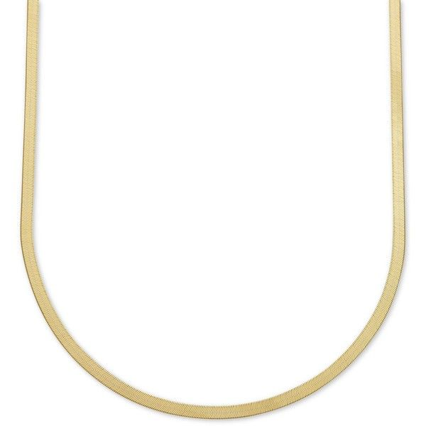 """22\"""" Italian Gold Herringbone Chain Necklace in 10k Gold ($563) ❤ liked on Polyvore featuring jewelry, necklaces, yellow gold, herringbone necklace, yellow gold jewelry, yellow gold chain necklace, gold chain necklace and gold herringbone necklace"""