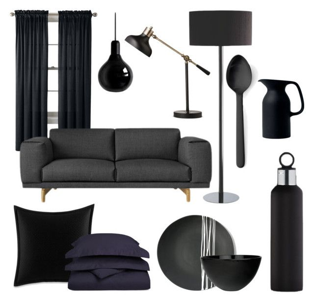 """""""Black!"""" by archita-dewi on Polyvore featuring interior, interiors, interior design, home, home decor, interior decorating, Royal Velvet, Mineheart, Betsey Johnson and Impressions"""