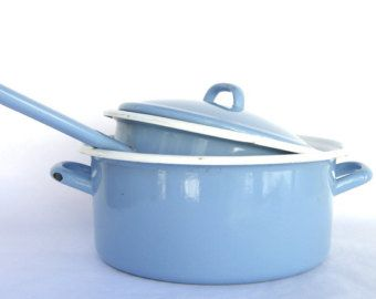 Vintage Blue Enamelware, Enamel Pot Sauce Pan, Made in Italy, Country Italian Cottage Kitchen