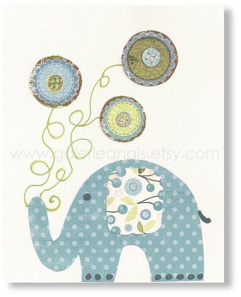 Nursery art print, nursery decor, baby nursery print, kids art, kids room decor, nursery wall art, Elephant, Yoyo Fun 8x10 print. $14.00, via Etsy.