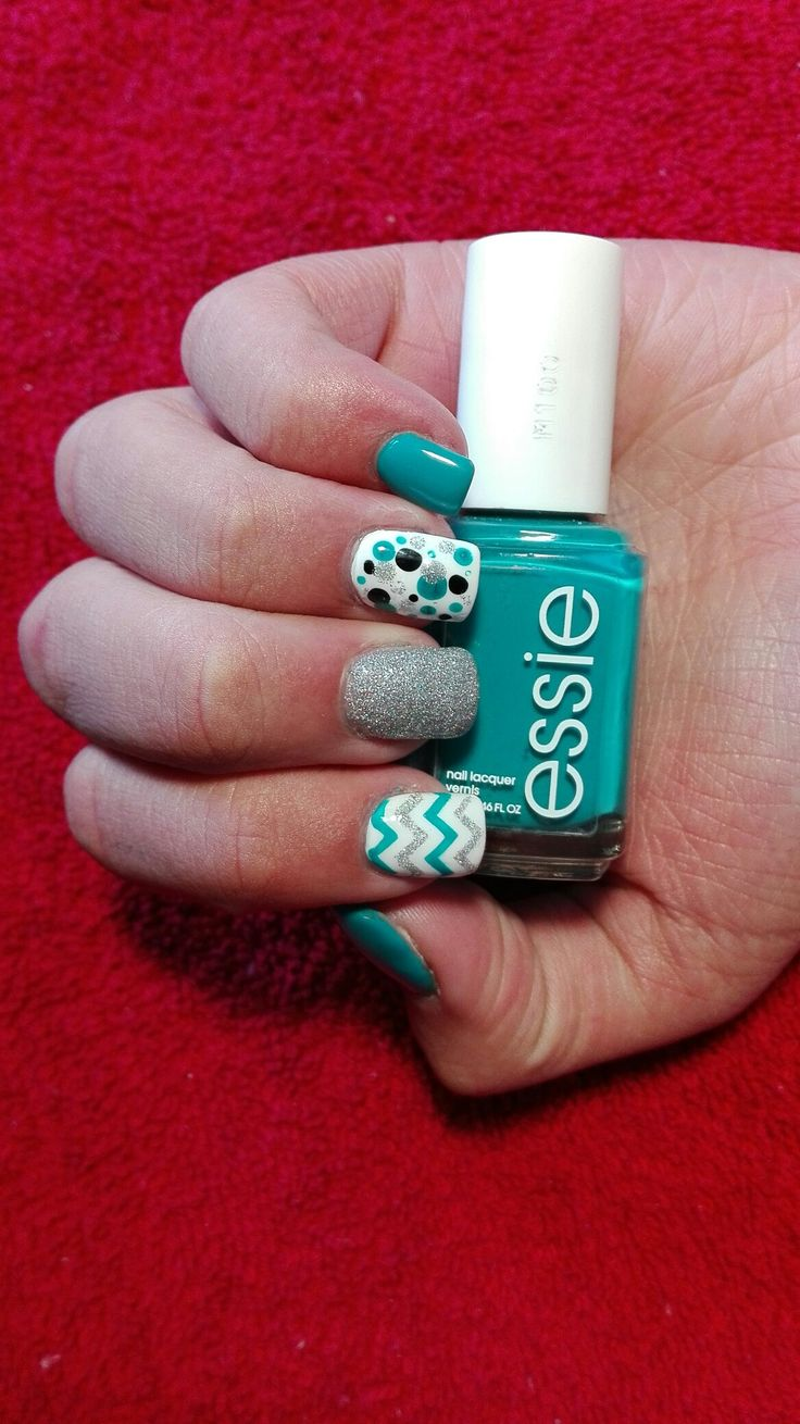 Essie blue colour with dots and zig zags