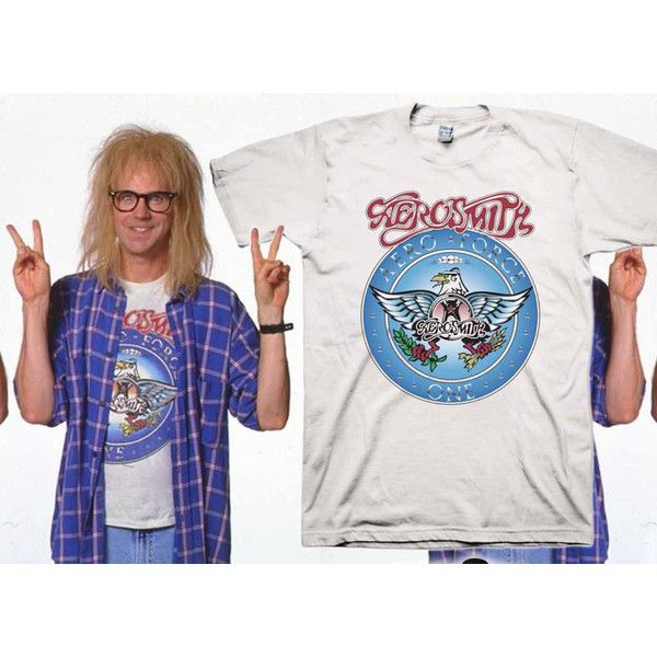 Wayne's World Garth Aerosmith T-Shirt Halloween Costume White Shirt... ($17) ❤ liked on Polyvore featuring t-shirts, tops, white and women's clothing