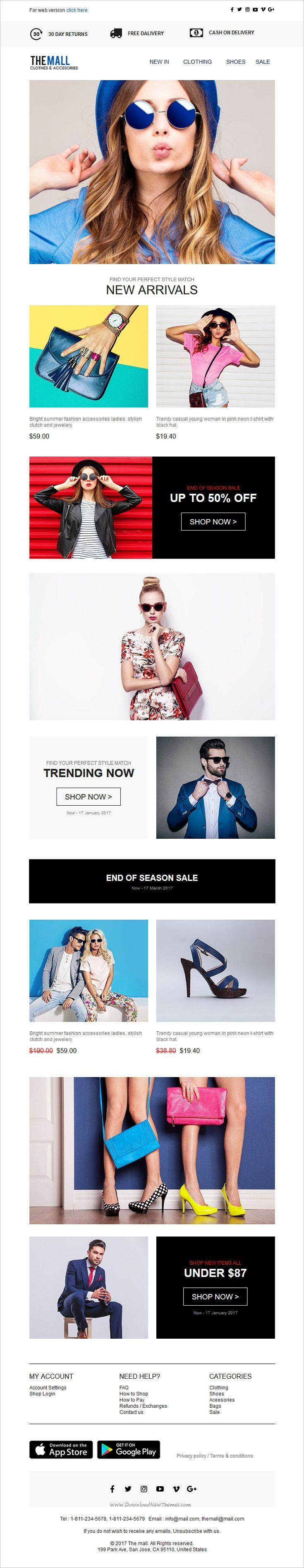 The mall is a responsive #eCommerce and #shopping #email newsletter template for viral #marketing with stamp ready builder download now➩ https://themeforest.net/item/the-mall-responsive-ecommerce-shopping-email-template-stampready-builder/19520508?ref=Datasata