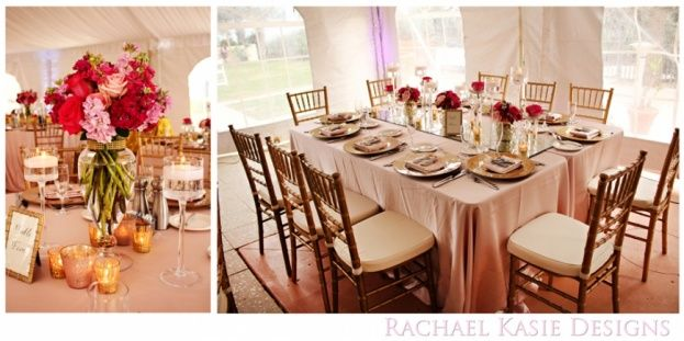 These gold chiavari chairs and chargers by A Chair Affair Event Rentals Orlando look perfect at the Hammock Beach Resort.