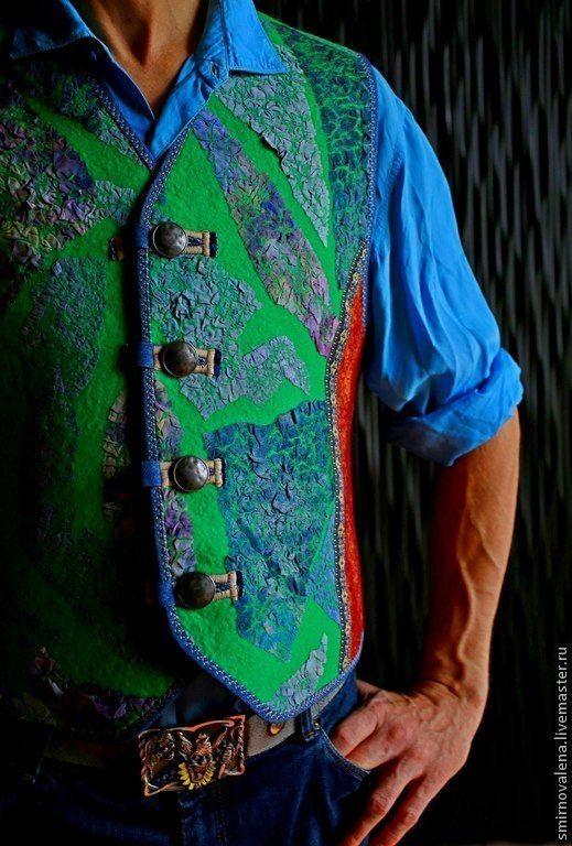Купить Жилет мужской МАЯКОВСКИЙ - зеленый, мужской жилет, жилет для мужчины, валяный жилет, Питер
