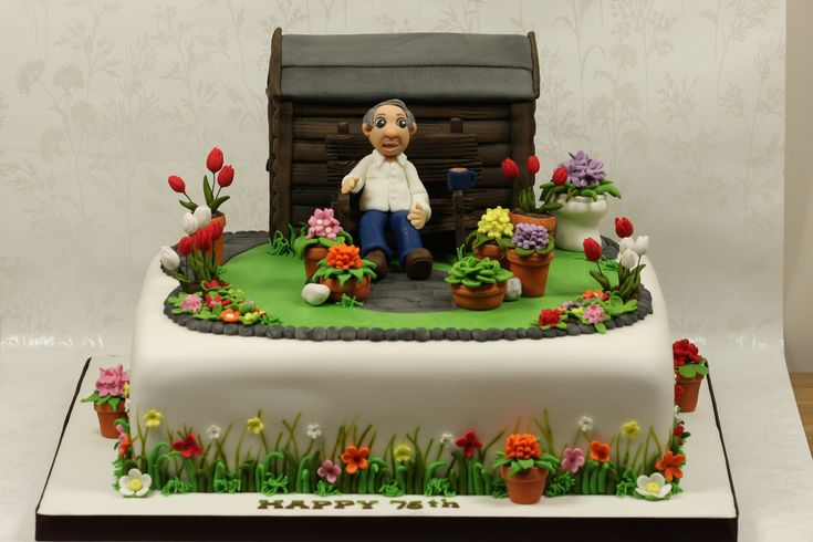 "https://flic.kr/p/at442g | Garden Cake | A cake for a 75th birthday celebration. I was told the gentlemans garden is full of flowers so with kind permission from Jo The-Icing-on-the-cake, I used her design for the detail on the side of the cake - Thanks Jo!. I was really pleased with the overall look of the cake. The cake itself was an extremely heavy 12"" rich fruit cake so all that detail round the sides took forever (worth it though I think)."