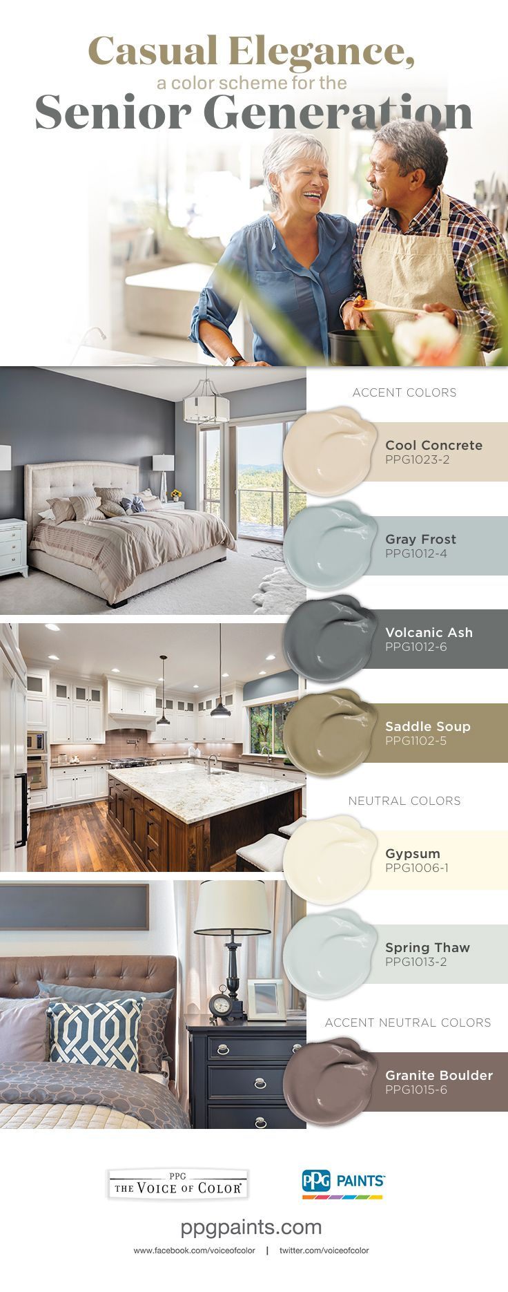 Casual Elegance, a Color Scheme for the Senior Generation | The Casual Elegance color palette is designed to perfection for Seniors. With timeless and quality colors, this palette compliments the Senior lifestyle.