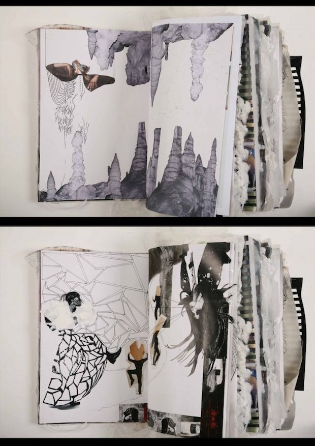 Ania Leike's creative fashion sketchbook. This image will be discussed in our eBook 'Sketchbook development' helping you into art college. www.portfolio-oomph.com