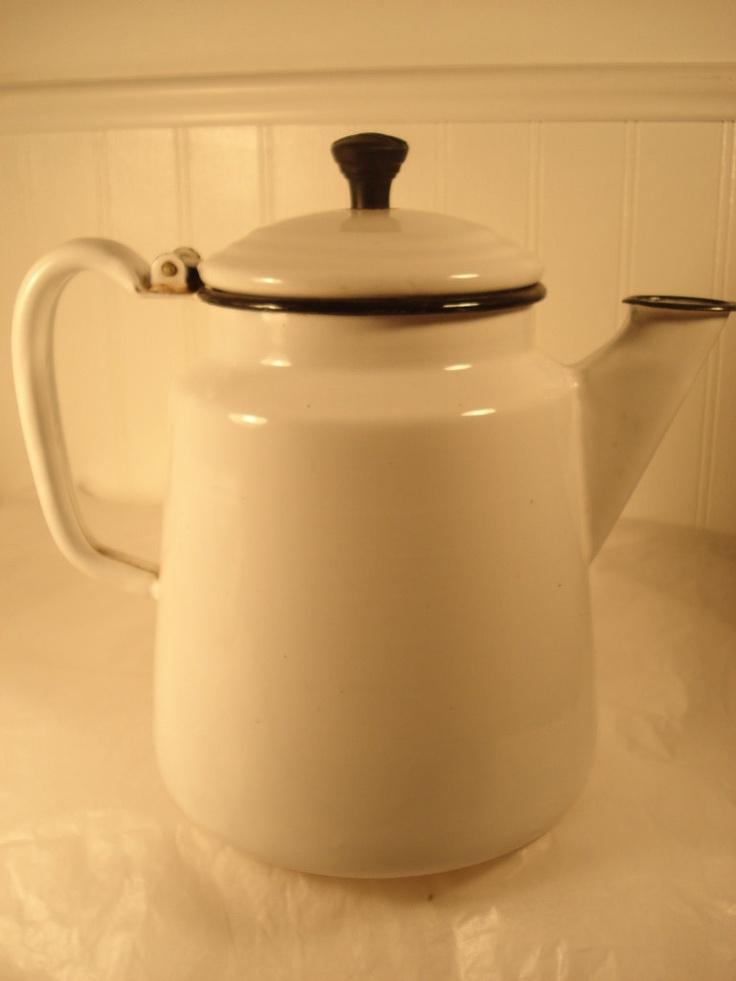 White and black enamel coffee pot. $17.75, via Etsy.