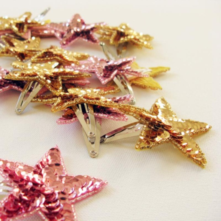 sequin star hair clips // at Darling Clementine