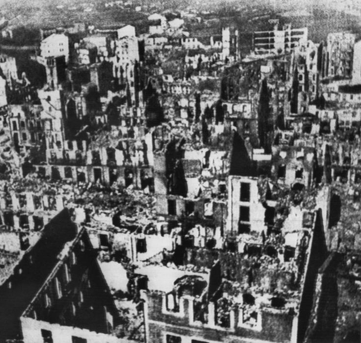 Destroyed city of Guernica: This aerial photograph shows the Basque city in 1937 shortly after the bombing.