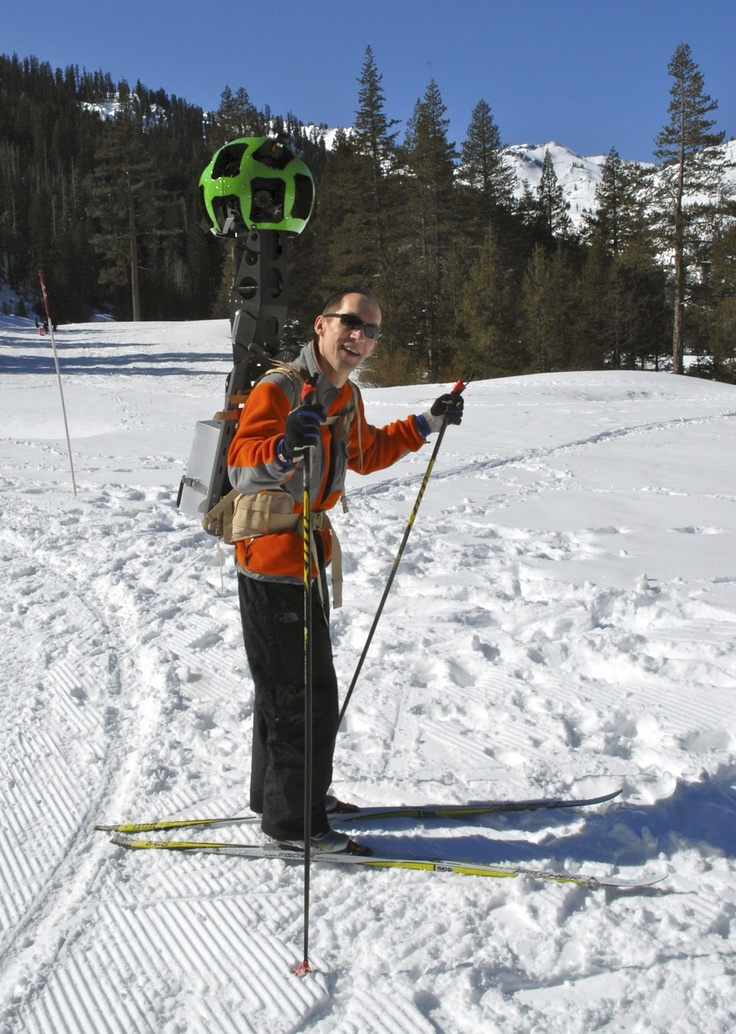 Luc Vincent, engineering director, takes Street View Trekker for a trial run at Lake Tahoe, California, in this undated handout photo courtesy of Google.Ski Resorts, Google Maps, Android, Google Street, Street View, Blog, Engineering, View Trekker, Grand Canyon