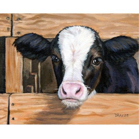 Cow Art  Print of Original Painting, Calf with Fence by Dottie Dracos, calf cattle farm animals