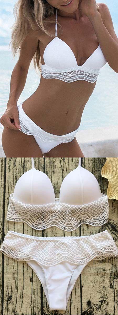 Parte superiore e parte inferiore del bikini con pannello in pizzo allacciato al bianco – #bikini #Bottom #halter #Lace #P …
