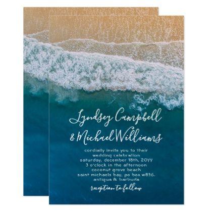 Elegant Beach Blue Ocean Wedding Card - wedding invitations diy cyo special idea personalize card