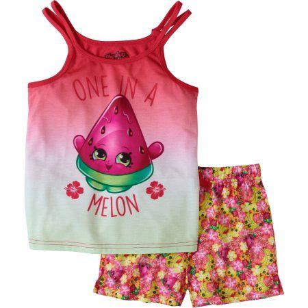 Shopkins Girls' One In A Melon Cut Out Tank And Short Set, Assorted