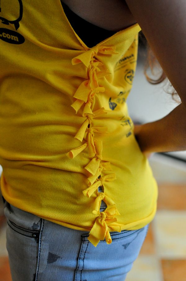Cutting Shirts Into Tank Tops | ... side-knotted tank top from an old T-shirt | The Reluctant Stylista