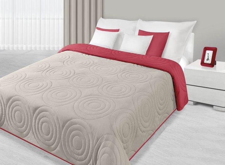 Přehozy na postel šedě červené s kruhy