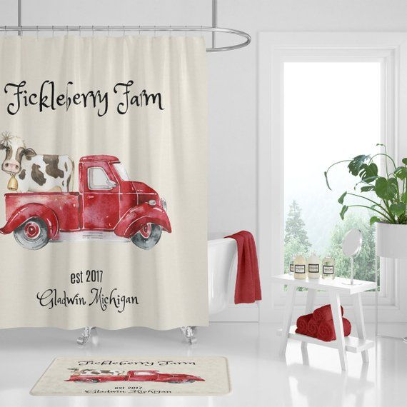 Personalized Shower Curtain Vintage Red Truck With Cow Farmhouse