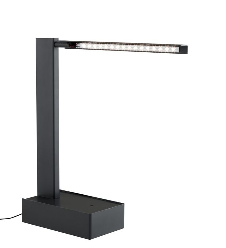 PIEGA desk lamp by Julien Lize. Highlights include a nifty directional reflector housing a 30cm LED strip (60w equivalent). Suitable for Euro, UK & US use with interchangeable plugs too.