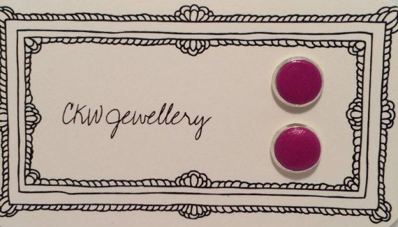 Vivid Purple Silver Framed Polymer Clay Stud by CKWJewellery
