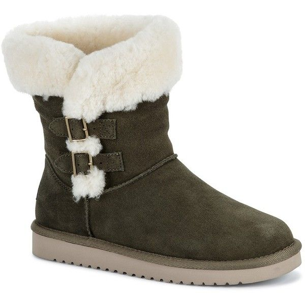 KOOLABURRA BY UGG Sulana Short Genuine Dyed Sheepskin Insole & Lined... ($80) ❤ liked on Polyvore featuring shoes, boots, ankle booties, olnt, round toe ankle booties, buckle booties, round toe boots, pull on boots and short boots