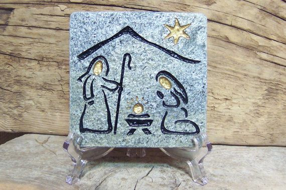 NATIVITY Enchanting Natural 4x4 in engraved Stone by SandStudios, $19.00