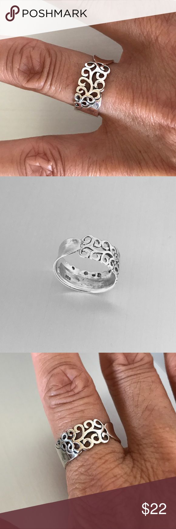 Sterling Silver Band with Vines Ring Sterling Silver Band with Vines Ring 💍 Index Ring 💍 Thumb Ring 💍 Wide Band 💍 925 Sterling Silver, Face Height 9 mm, THIS RING RUN ABOUT HALF SIZE SMALL! Jewelry Rings