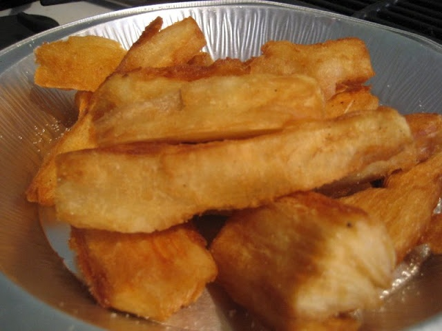 Yucca Frita / Fried Cassava. We make the yucca with mojo and the left overs we fry. Both ways awesome.