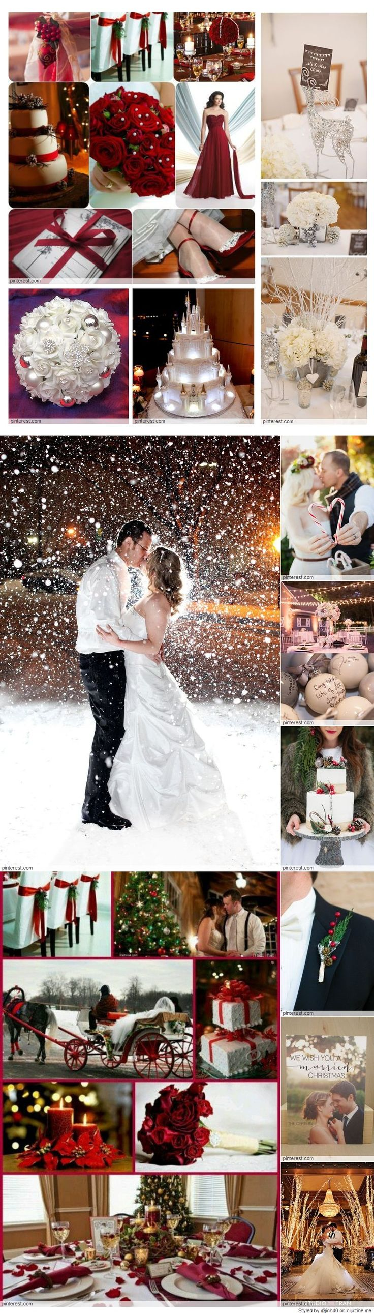 What great ideas for a Christmas wedding.  Love all the red and white decorations, the picture of the bride and groom in the snow and the red, flowing bridesmaids dresses.  Awesome.