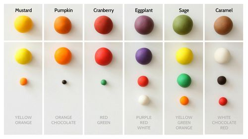 Check outSatin Ice'snew website and look for the Autumn color mixing  guide we created using their colored fondant!