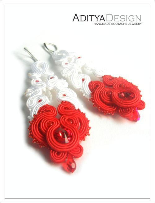 Soutache Earrings, Soutache Jewelry, Bridal Jewelry, Wedding Soutache, White Red, Agness  Model by AdityaDesign