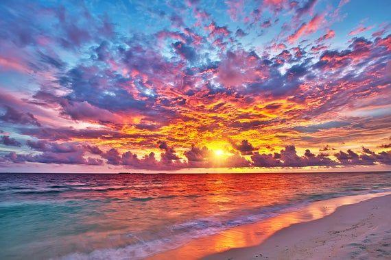 Wallpaper Mural Sunset Over Ocean Premium Wallpaper Mural Adhesive Included Sunset Painting Sunset Wallpaper Beautiful Wallpapers