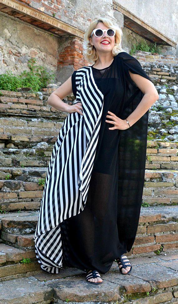 Extravagant Striped Summer Kaftan, Long Striped Black and White Maxi Dress, Asymmetrical Black and White Kaftan TDK253, La Dolce Vita