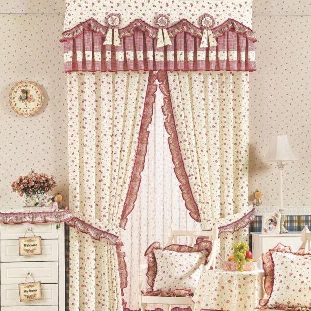 Cute Living Room or Bedroom Curtains with Flowers Printing Lace