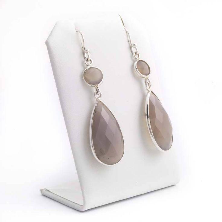 De Vogue Dubbele grijze oorbellen met chalcedoon edelstenen in sterling zilver