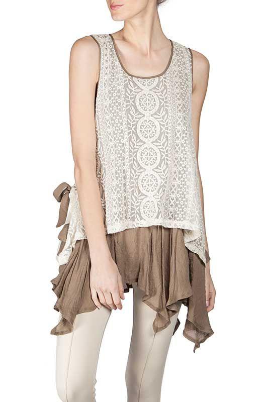 Ryu Clothing Lace Overlay Sleeveless Top in Cream