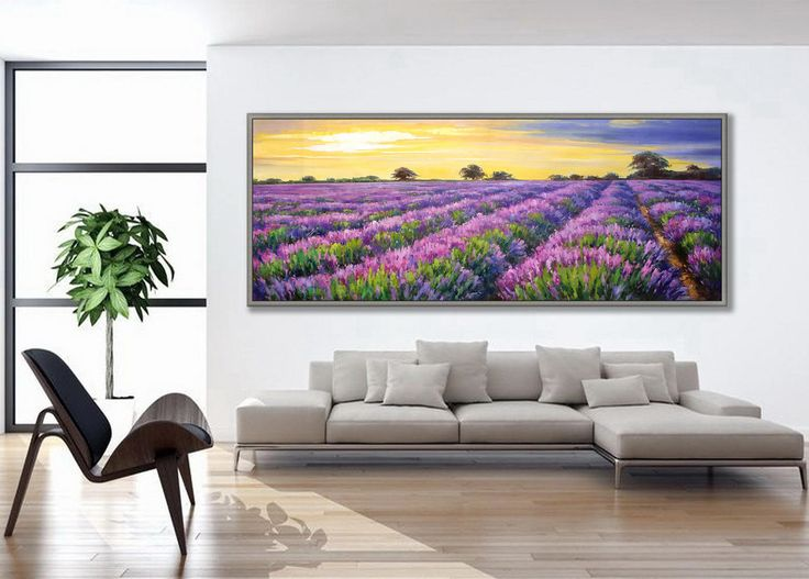 """Lavender France Painting 27x71""""/70x180cm French Provence painting by EARTITALY2 on Etsy"""