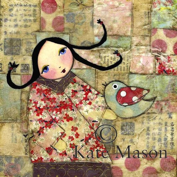 Kokeshi collage by Kate Mason: Kokeshi Collage, Kokeshi Dolls, Collage Art, Mason Mixmedia, Art Collage, Dolls Prints, Paper Collage, Kate Mason, Collage Backgrounds