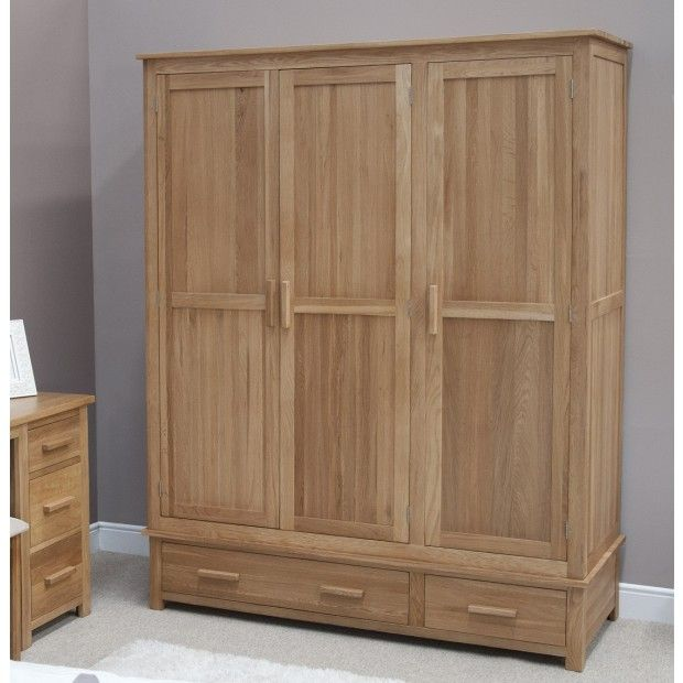 Opus Solid Oak 3 Door Triple Wardrobe at Oak Furniture UK. We have a wide  range of solid wood furniture in stock so buy online today!