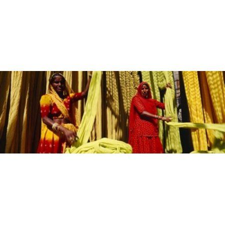 Portrait of two mature women working in a textile industry Rajasthan India Canvas Art - Panoramic Images (36 x 13)