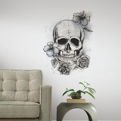 Shop Wayfair for Room Mates Internet Only Neutral Floral Skull Peel and Stick Giant Wall Decal - Great Deals on all Decor products with the best selection to choose from!