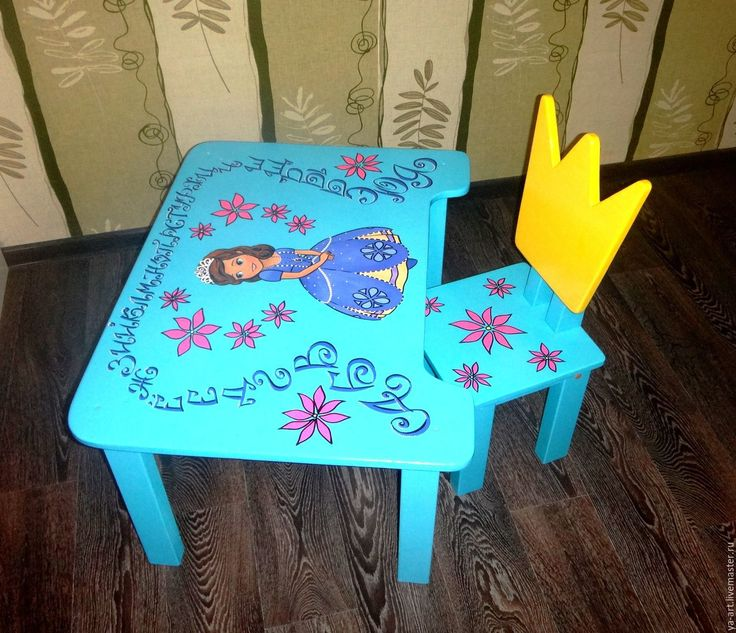 """Купить Столик + стульчик """"Принцесса София"""" - комбинированный, подарок, натуральные материалы, детская комната"""