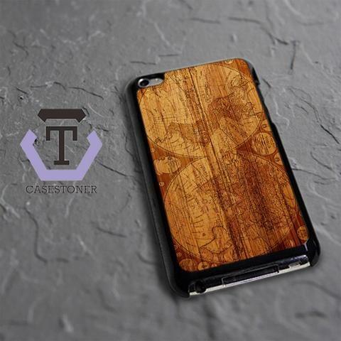 Worl Map Old Wood Design iPod 4 Black Case